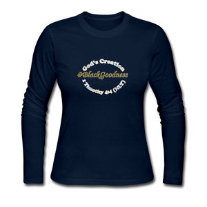 Black Goodness Women's Long Sleeve Jersey T-Shirt - navy