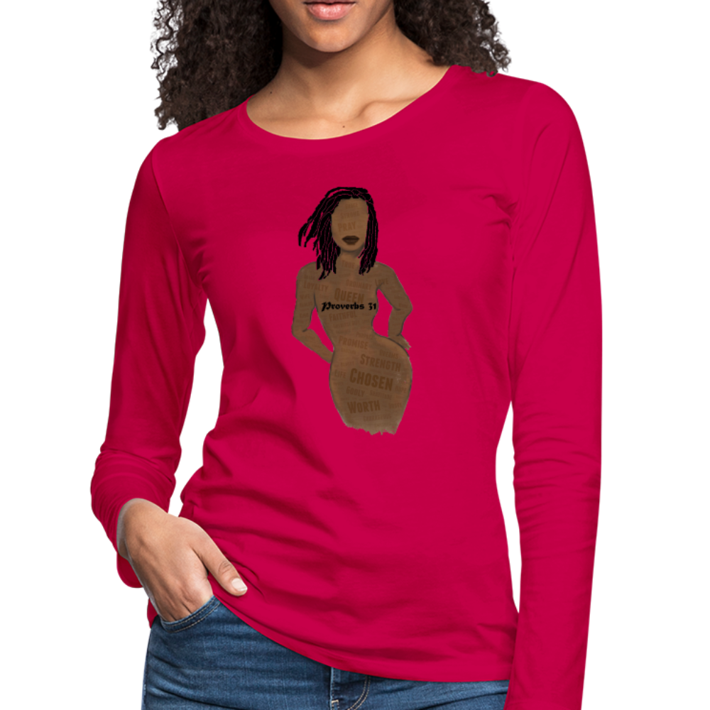 Proverbs 31 Loc Lady Women's Premium Long Sleeve T-Shirt - dark pink
