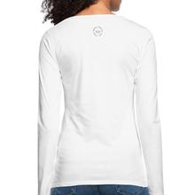 Load image into Gallery viewer, Black Goodness Women's Premium Slim Fit Long Sleeve T-Shirt - white