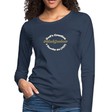 Load image into Gallery viewer, Black Goodness Women's Premium Slim Fit Long Sleeve T-Shirt - navy