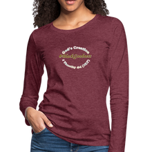 Load image into Gallery viewer, Black Goodness Women's Premium Slim Fit Long Sleeve T-Shirt - heather burgundy