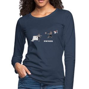 Amari Women's Premium Slim Fit Long Sleeve T-Shirt - navy