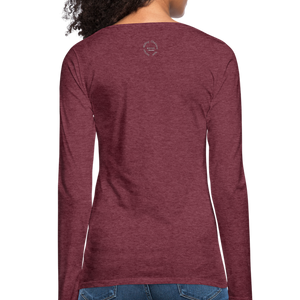 Amari Women's Premium Slim Fit Long Sleeve T-Shirt - heather burgundy