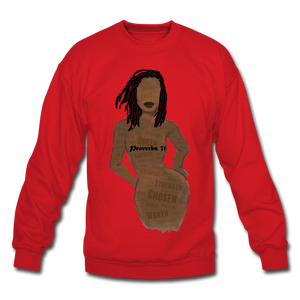 Proverbs 31 Loc Lady Unisex Crewneck Sweatshirt - red