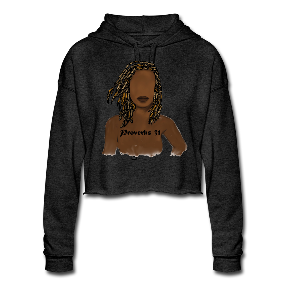 Proverbs 31 Locs  Cropped Hoodie - deep heather