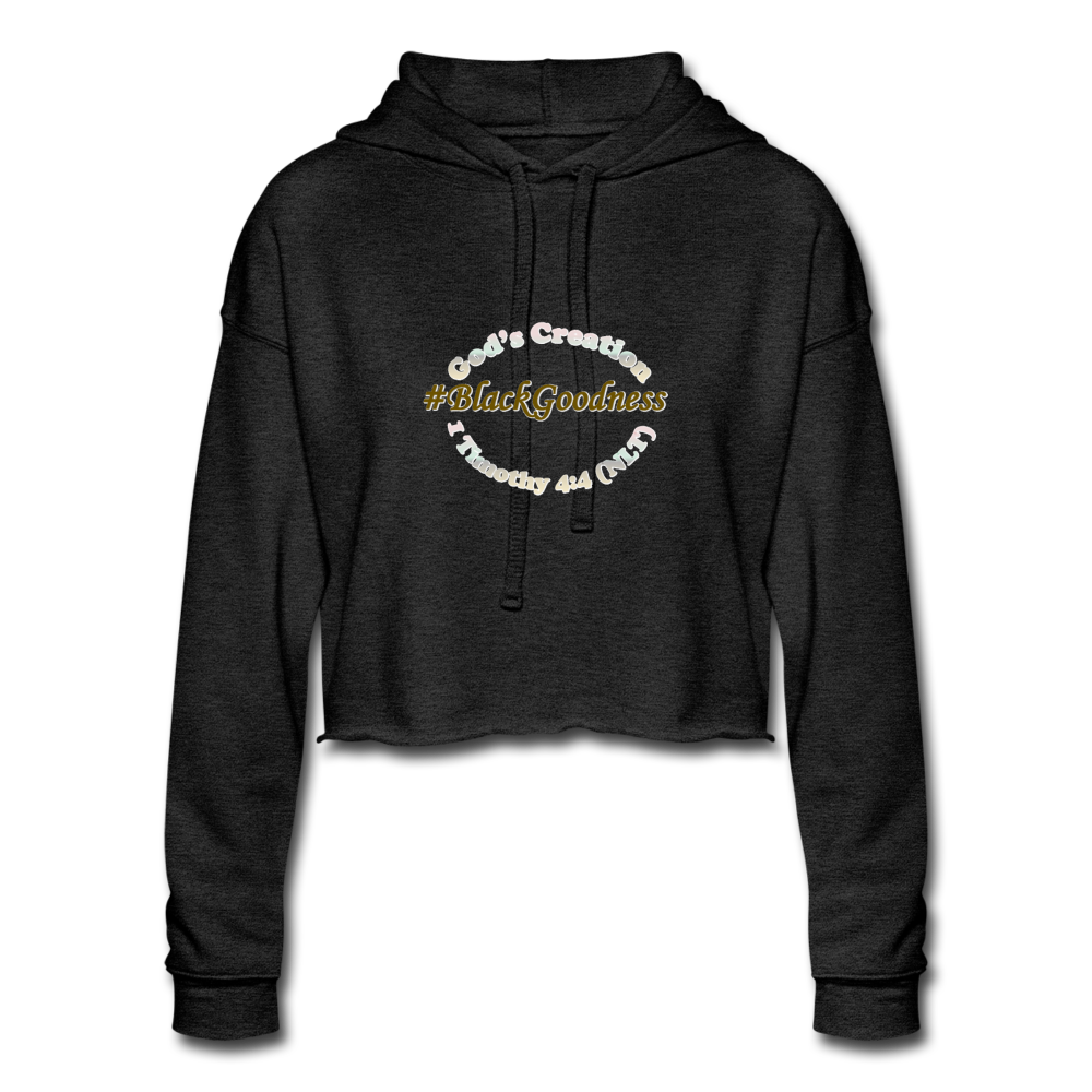 Black Goodness Cropped Hoodie - deep heather