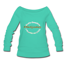 Load image into Gallery viewer, Black Goodness Wideneck Sweatshirt - teal