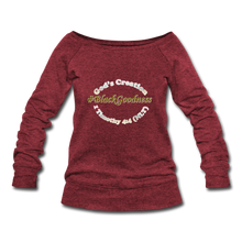 Load image into Gallery viewer, Black Goodness Wideneck Sweatshirt - cardinal triblend