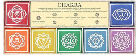 Chakra Candle Set in a Wooden Gift Box