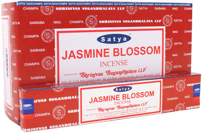 12 Packs of Jasmine Blossom Incense Sticks by Satya | Force of Life Spiritual & Holistic Shop | Forceoflife.co.uk