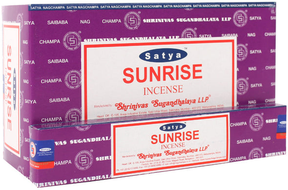 12 Packs of Sunrise Incense Sticks by Satya | Force of Life Spiritual & Holistic Shop | Forceoflife.co.uk
