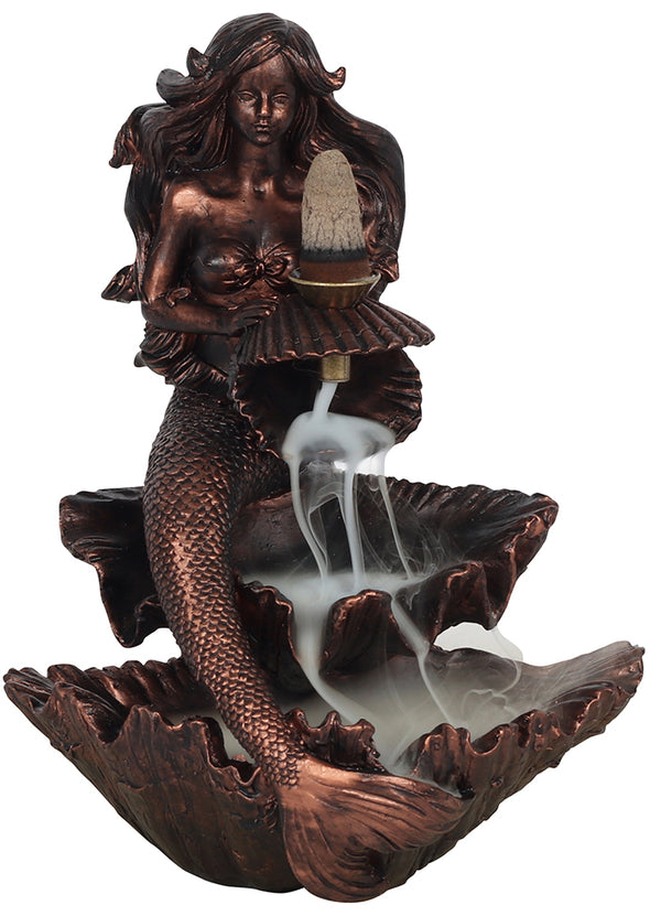 Bronze Effect Mermaid Backflow Incense Burner | Force of Life Spiritual & Holistic Shop | Forceoflife.co.uk