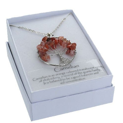 Carnelian Tree of Life Pendant in Gift Box | Force of Life Spiritual & Holistic Shop | Forceoflife.co.uk