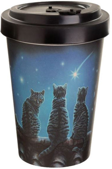Cats & Stars Bamboo Travel Mug By Lisa Parker | Force of Life Spiritual & Holistic Shop | Forceoflife.co.uk