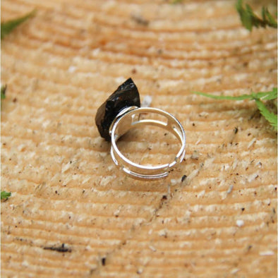 Elite Shungite Adjustable Ring with a Double Silver Band | Force of Life Spiritual & Holistic Shop | Forceoflife.co.uk