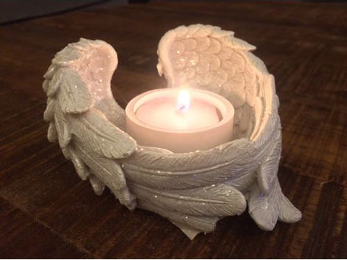 Glitter Angel Wings Candle Holder | Force of Life Spiritual & Holistic Shop | Forceoflife.co.uk