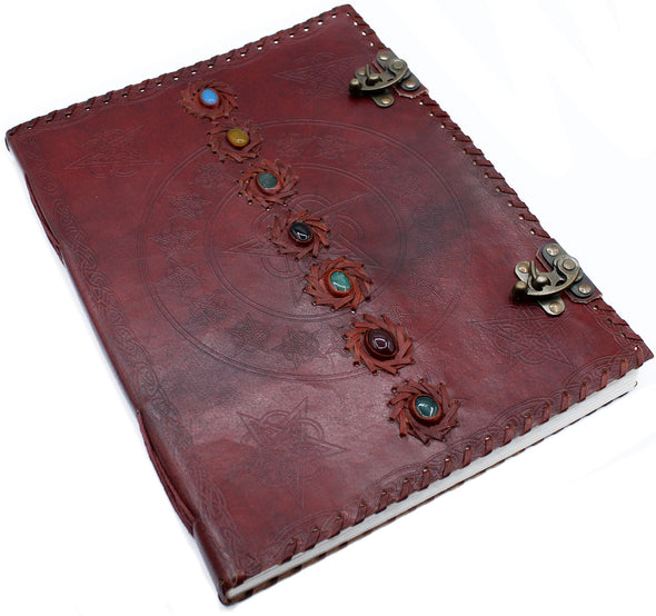 Huge 7 Chakra Leather Book | Force of Life Spiritual & Holistic Shop | Forceoflife.co.uk