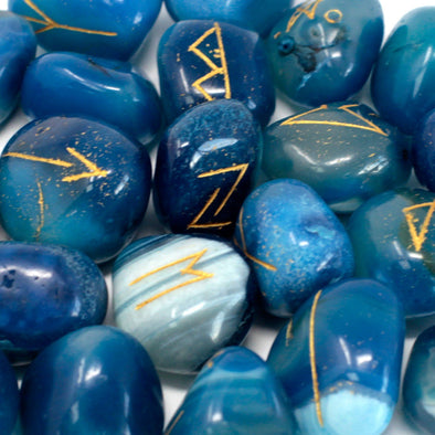 Blue Onyx Runes Stone Set | Force of Life Spiritual & Holistic Shop | Forceoflife.co.uk