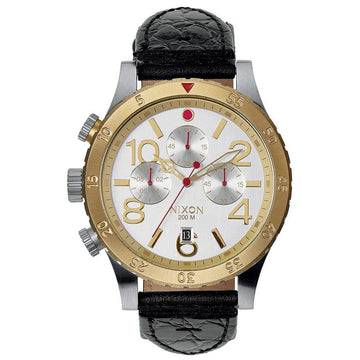Nixon 48-20 Chrono Leather SIL/GLD/BK