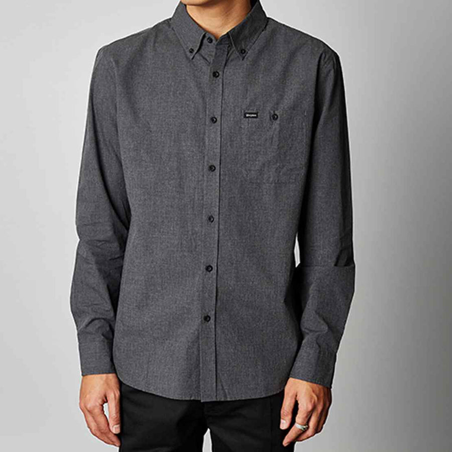 Bixton Mens Central L/S Woven HEATHER-BLACK
