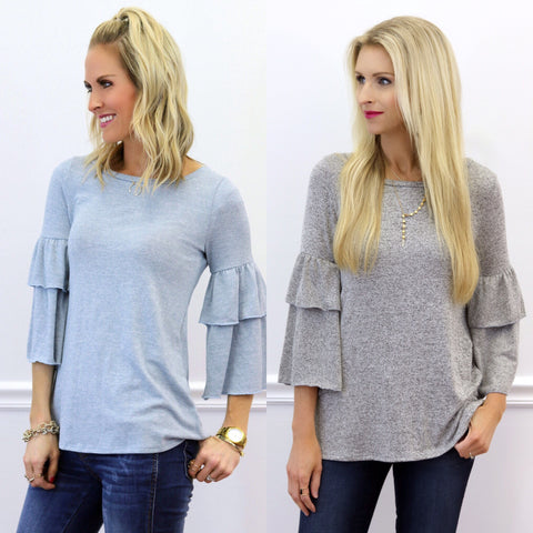 Laney and Reese Ruffle Sleeve Tops | Piper Street