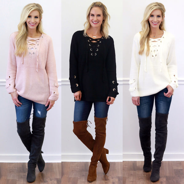 Piper Street Lace-Up Sweaters