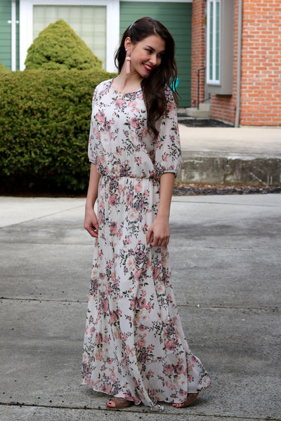Brynn Ivory and Pink Floral Maxi Dress | Piper Street