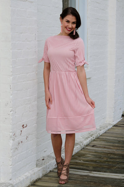 Delaney Pink Striped Lace Midi Dress | Piper Street