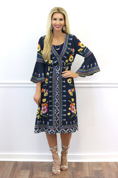 Dakota Navy Floral Midi Dress | Piper Street