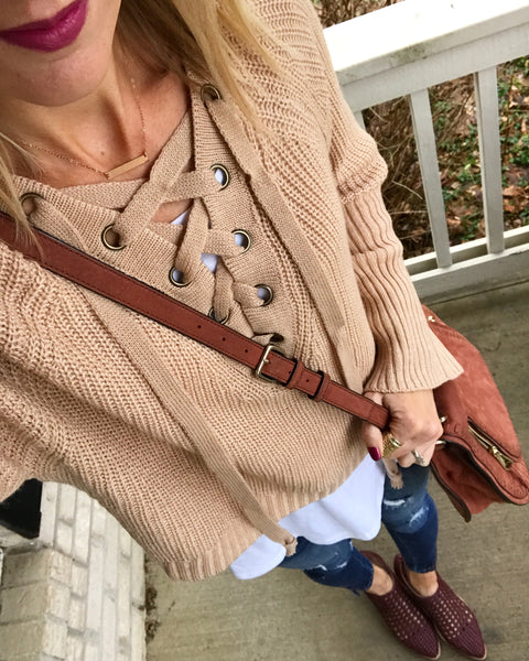 Isla Cropped Lace-Up Sweater