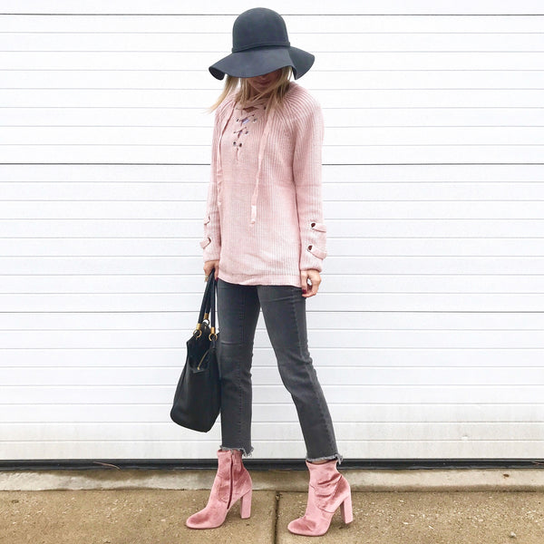 Abby Pink Lace-Up Sweater
