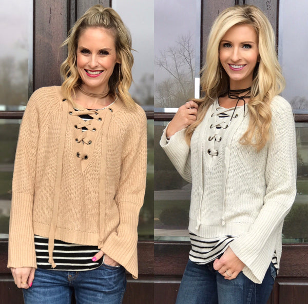 Cropped Lace-Up Sweaters