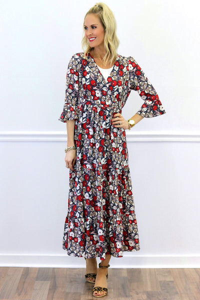 Camryn Red Floral Maxi Dress | Piper Street