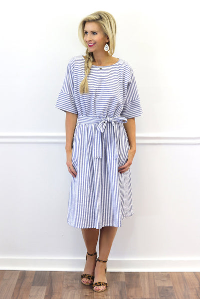 Sydney Blue Striped Midi Dress | Piper Street