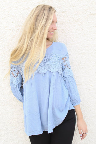 Briar Blue Lace Trim Top