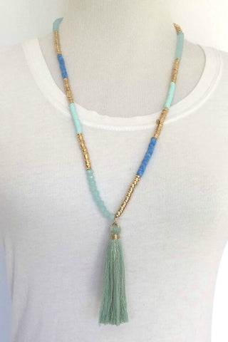Jewelry - Aqua Beaded Chain Tassel Necklace