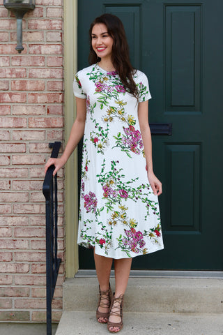 Claire Cream Floral Midi Swing Dress