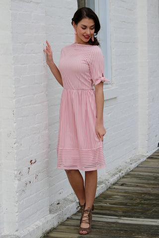 Delaney Pink Striped Lace Midi Dress