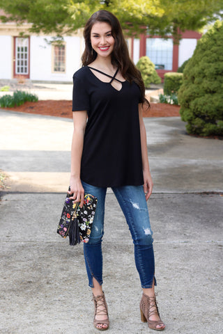 Elizabeth Black Criss-Cross Top
