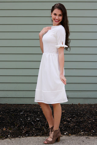 Ellie White Striped Lace Midi Dress