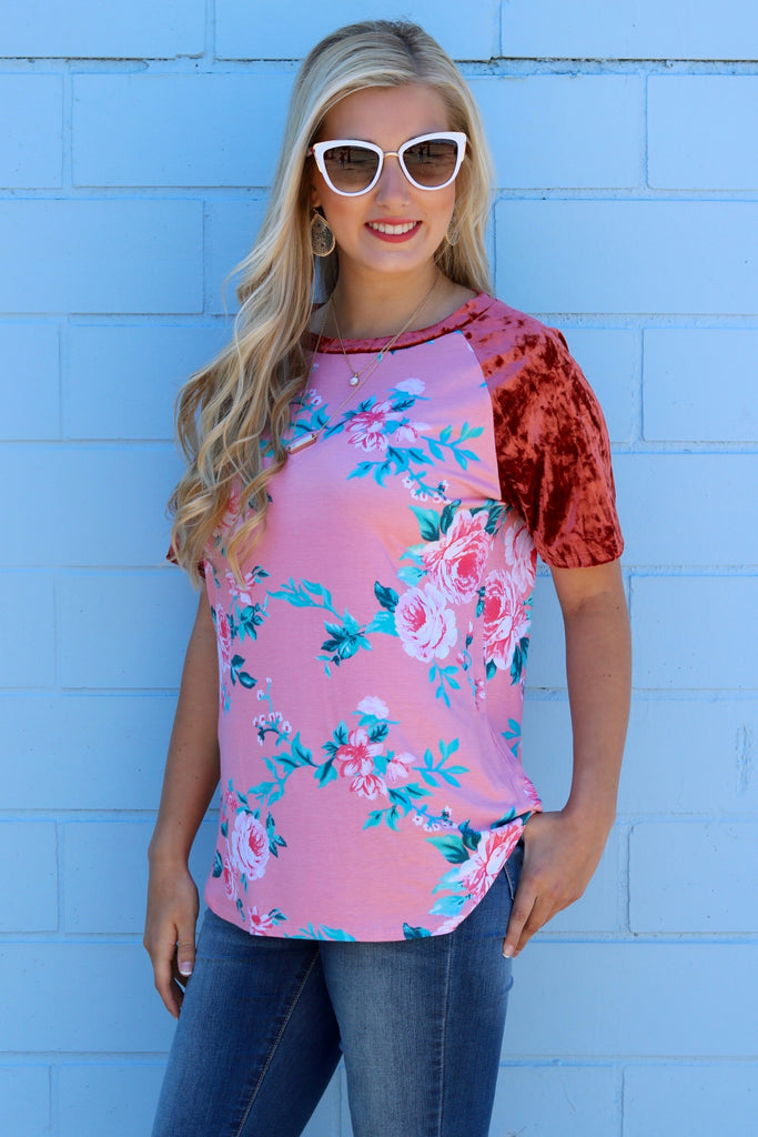 Everly Rose Velvet Sleeve Floral Top