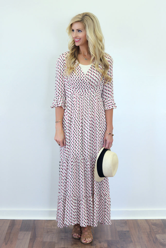 Gisele Ivory and Pink Micro Floral Maxi