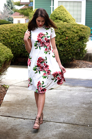 Grace Ivory and Pink Floral Midi Swing Dress
