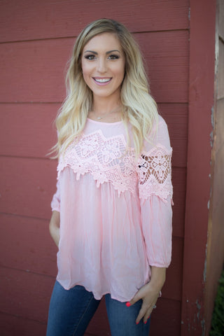 Gretchen Pink Lace Trim Top