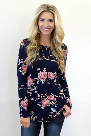 Georgina Navy Floral Print Top