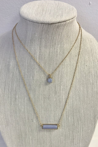 Light Blue Double Layer Bar Necklace