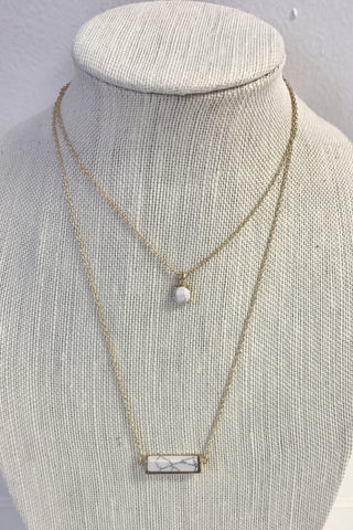 White Double Layer Bar Necklace