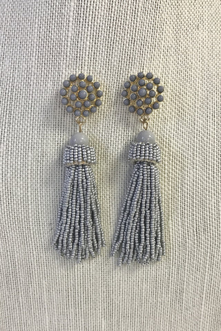 Grey Beaded Tassel Earrings