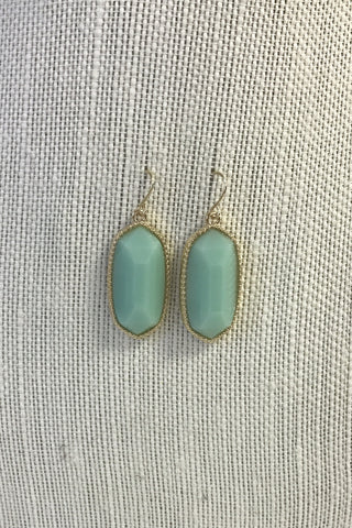 Mint Oval Drop Earrings