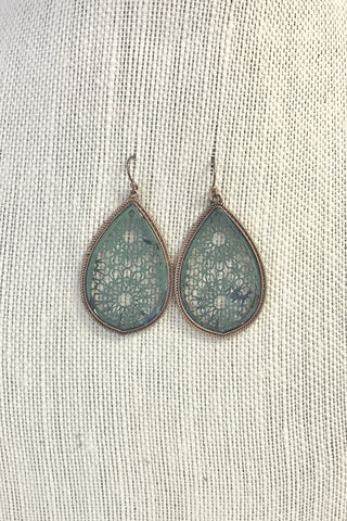 Sage Marble Filigree Earrings